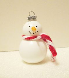 Blown glass Snowman with red and white scarf by jrpaller on Etsy