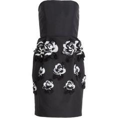 Prabal Gurung Appliqued Silk Mini-Dress ($1,015) ❤ liked on Polyvore featuring dresses, prabal gurung, short dress, black, black pencil dress, strapless mini dress, silk dress, short black dresses and black silk dress