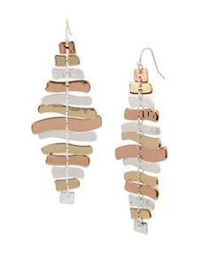 Robert Lee Morris Soho Sculptural Chandelier Earrings Women's Tri Tone