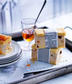 Australian Gourmet Traveller recipe for burnt-honey and ricotta gelato slice.