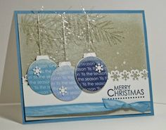 Trio of Blue Ornaments Christmas Card...by atsamom - cards & paper crafts at…
