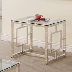 117.30 Coaster Furniture Square Glass Top End Table | from hayneedle.com