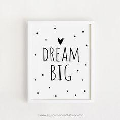 Arte citas cartel sueño signo negro grande y blanco Simple