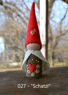 """Schatzi"" -- peg gnome handmade from wool felt, wooden peg, and cotton floss."