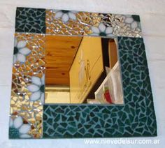 espejos de baño con mosaiquismo - Buscar con Google                                                                                                                                                      Más Pebble Mosaic, Mosaic Glass, Stained Glass, Glass Art, Mirror Mosaic, Mosaic Art, Mosaic Tiles, Mosaics, Mosaic Crafts