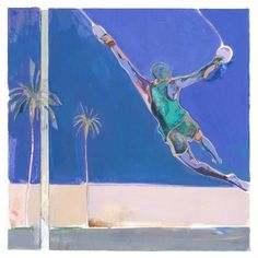 "Saatchi Art Artist Charlotte Evans; Painting, ""(muscle beach) swing (framed)"" #art"