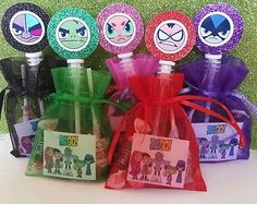 12 Teen Titans Birthday Party Favor Bags Sticker Bubbles Goody Candy Supply