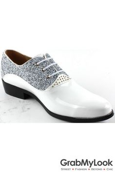 GrabMyLook Glitter Sparkling Bling Bling Lace Up Point Head White Mens Oxford Shoes