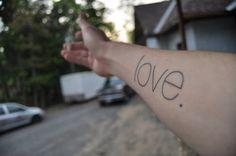 Minimalist Lettering, Love. Helvetica Light. #tattoo