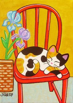 CALICO CAT on Red Chair Folk Art PRINT from Original by thatsmycat