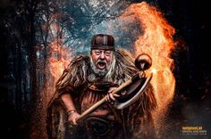 The Viking Warrior by Reinhard Loher on Viking Warrior, Vikings, Nature, Painting, Platform, Fire, The Vikings, Naturaleza