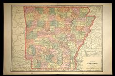 Antique Map Arkansas Large State Early 1900s Original 1901