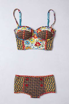 Anthropologie - Patchworked Blossoms Hip Hugger set