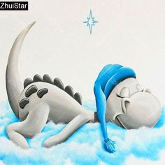 5D DIY Diamond Painting. Cartoon Sleeping White Dinosaur. Square drill, 6 kit sizes to pick from.