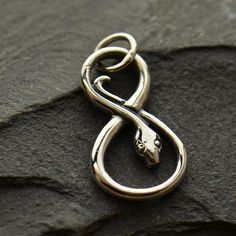 Sterling Silver Infinity Snake Charm by kathleensonia on Etsy