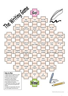 Board Game The Writing Game worksheet Free ESL printable worksheets made by teachers English Grammar Games, English Writing, English Vocabulary, Teaching English, Games In English, Teaching Spanish, Writing Classes, Teaching Writing, Writing Skills