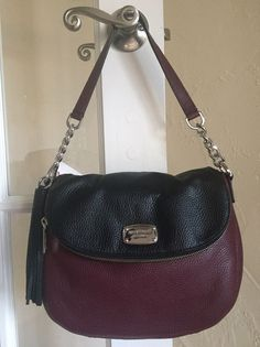 Michael Kors Bedford Medium Tassel Convertible Shoulder Bag Merlot & Black #MichaelKors #ShoulderBagCrossbody