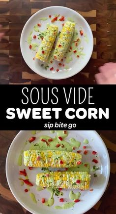 Genius + tasty sous vide side dish idea: SOUS VIDE corn on the cob that butters itself! See my recipe for Sous Vide Buttered Corn on the Cob to make this juicy masterpiece at home. #sipbitego #cornonthecob #sousvidecorn #sousvide #sousvidecooking #sousvidecorn #corn