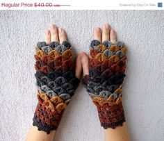 CIJ SALE Crocheted PINE Cone mittens fingerless gloves by mareshop