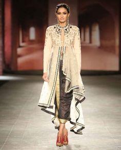 ANJU MODI: Ivory Drape Jacket with Charcoal Dhoti Set