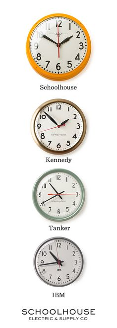 Inspired by the rich history of clock manufacturing in the U.S, each clock is assembled by hand in Portland, OR. | Shop vintage-inspired, industrial clocks by Schoolhouse Electric & Supply Co.
