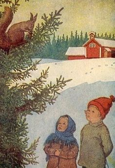 Elsa Beskow: 'Mors lille Ole'/Mors lilla Olle A Norwegian postcard.by a Swedish artist. Swedish Christmas, Noel Christmas, Scandinavian Christmas, Vintage Christmas Cards, Vintage Cards, Elsa Beskow, Winter Illustration, Children's Book Illustration, Vintage Children