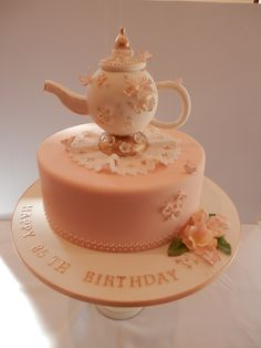 - Teapot cake. The teapot is actually a 10cm diameter polystyrene ball covered with fondant and modelled into a teapot. Cake was chocolate, with dark chocolate ganache and covered in fondant.