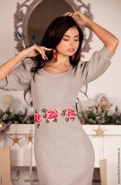 """Купить Платье """"Венок из цветов"""" - серый, цветочный, платье с вышивкой, Вышивка крестом, вышивка крестиком"""