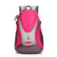 da49e7b747 New Women Double Shoulder travel Backpack outdoor sport School bag 30L pink  red  Feelpionner Travel
