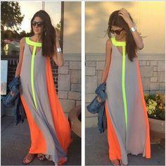 Cool Neon Summer Long Beach Dress