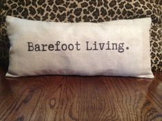 Thought Pillow - Barefoot Living.   decorative pillow, gift idea (beach house decor, shabby chic pillow, word pillow, typewriter typography)