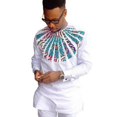 African Shirts For Men Patchwork O-Neck Dashiki Kitenge White Shirts African Clothing Item Type: Dashiki Shirts Kitenge Shirts Style: Fashion Pattern Type: Patchwork Collar: O-Neck Material: Cotton African Attire, African Wear, African Dress, African Style, Dashiki Shirt, Kitenge, African Shirts For Men, African Clothing For Men, African Clothes