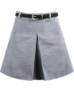 Grey Pleated A Line Woolen Skirt   Sheinside
