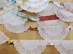 Fabric and doily bunting.