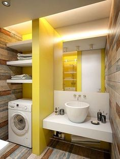 Here we have a good solution to find Amazing wedding Home Design, you may check this article (Small Apartment Decorating Ideas With Yellow Shades) right away. Appartement Design Studio, Studio Apartment Design, Apartment Layout, Laundry In Bathroom, Small Bathroom, Bathroom Ideas, Laundry Area, Mirror Bathroom, Bathroom Remodeling