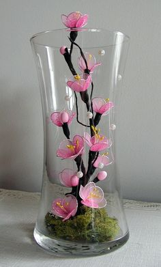 Items similar to Handmade Pink Cherry Blossom Arrangement - Sold on Etsy Nylon Flowers, Beaded Flowers, Diy Flowers, Flower Decorations, Fabric Flowers, Paper Flowers, Floral Centerpieces, Floral Arrangements, Nylon Crafts