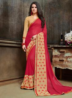 Pink Georgette Printed Saree With Blouse 116238