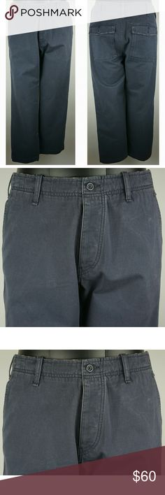 Men's Hugo Boss Pants Navy blue grayish color. Khakis type material. Button fly and drawstring and belt loops. Worn 2 times and is in excellent condition.   *Sizing--please measure jeans that fit you and compare. European designers such as Burberry, Armani, etc typically run small. sizes in inches: Waist--33 Hips  --45 Inseam--33 Outseam--43.5 Front Rise--10.75 Back Rise--14.5 Leg Opening--18.75 Hugo Boss Pants Chinos & Khakis