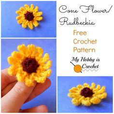My Hobby Is Crochet: Small Cone Flower (Rudbeckia) - Free Written & Charted Pattern | My Hobby is Crochet