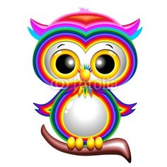 Rainbow Baby Owl Cartoon Gufo Cucciolo Arcobaleno-Vector