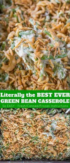 Easy Green Bean Casserole with green beans, mushroom soup, cheese and fried onio. Easy Green Bean Casserole with green beans, mushroom soup, cheese and fried onions with just 5 minutes of prep. You'll never go back to the canned stuff. The Best Green Beans, French Green Beans, Greenbean Casserole Recipe, Easy Casserole Recipes, Vegetarian Casserole, Casserole Ideas, Casserole Dishes, Creamy Green Beans, Best Green Bean Casserole