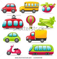 Cartoon transport set by Colorlife, via Shutterstock