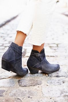 Venture Ankle Boot | Free People Western-inspired suede ankle boots featuring woven detail on the upper and adjustable ankle strap.