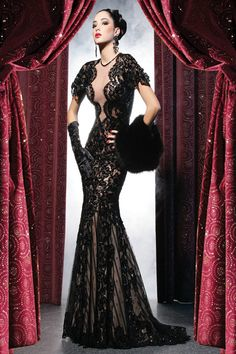 Love, Love, Love the stunning look of this dress. I adore the lace and sheer fabric which gives the dress that sexy, peek-a-boo look. The low and framed backside of the dress make it simply breath-...
