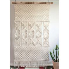 Large Macrame Wall Hanging > AMY > Cotton Cord in Natural Ecru with Bamboo Macrame Wall Hanger, Macrame Curtain, Large Macrame Wall Hanging, Window Hanging, Card Weaving, Wood Floating Shelves, Wool Art, Macrame Design, Macrame Patterns