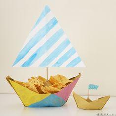 Come realizzare delle barchette porta snack con la tecnica origami.