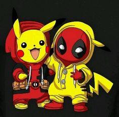 Deadchu (e DeadPool) & PikaPool (e PikaChu) Deadpool Pikachu, Pikachu Art, O Pokemon, Deadpool Funny, Deadpool Quotes, Deadpool Costume, Deadpool Movie, Pokemon Fusion, Pokemon Cards