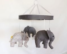 Baby Mobile- Grey Chevron Nursery Mobile- Crib Mobile on Etsy, $89.00