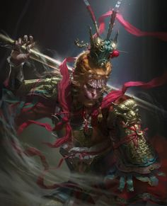 The amazing digital art Monkey Art, Monkey King, Oriental, Character Illustration, Illustration Art, Monkey Pictures, Ninja Art, Chinese Mythology, Journey To The West