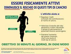 I benefici dell'attività fisica nella prevenzione. Fonte: AICR